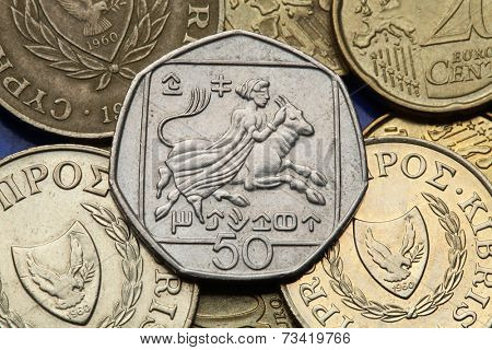 Coins of Cyprus. Abduction of Europa by Zeus transfigurated into a bull depicted in the old Cypriot 50 cents coin.