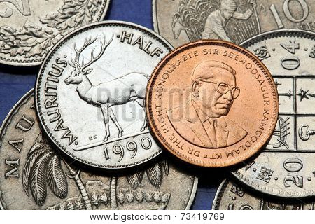 Coins of Mauritius. Sir Seewoosagur Ramgoolam anf Mauritian rusa deer (Rusa timorensis) depicted in the Mauritian rupee coins.