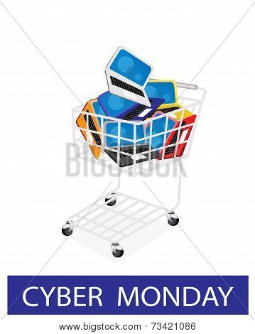 Laptop Computer in Cyber Monday Shopping Cart