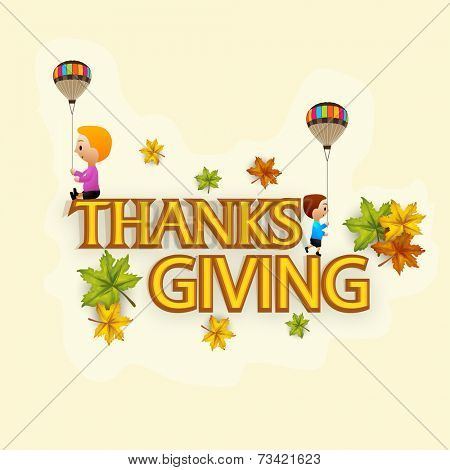 Beautiful Thanks Giving Day celebrations greeting with little kids holding hot air balloons and sitting on stylish text, colourful maple leaves decorated background.