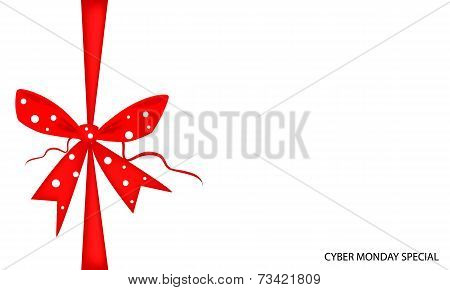 Cyber Monday Gift Card with Red Ribbon