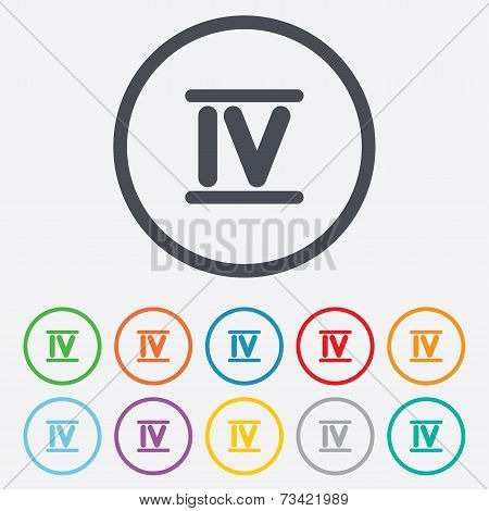 Roman numeral four icon. Roman number four sign.