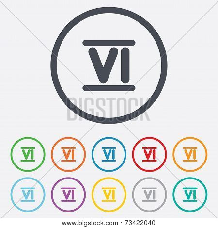Roman numeral six icon. Roman number six sign.