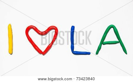 Text I LOVE LA from plasticine