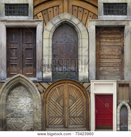 Abstract Collage Of Old Doors
