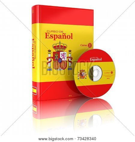 Spanish book  in national flag cover and CD. 3d