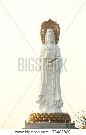 goddess of mercy statue at seaside in nanshan temple, hainan island