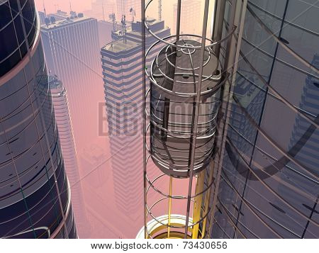 Skyscraper with elevator on city background.