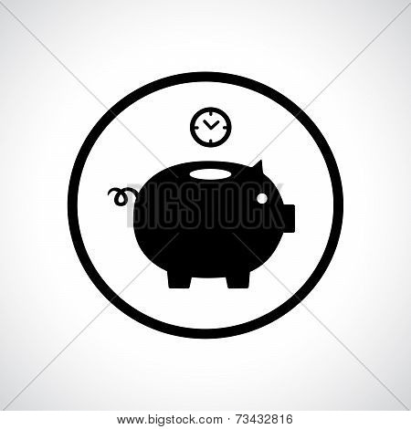 Piggy bank icon with a clock falling in.