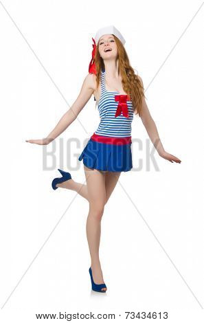 Woman sailor isolated on the white