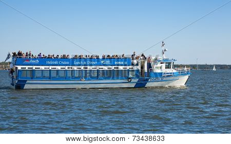 Touristic Pleasure Boat Sails In The Harbor Of Helsinki