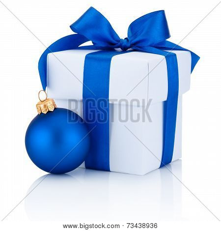 White Box Tied Blue Ribbon Bow And Christmas Ball Isolated On White Background