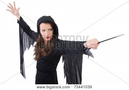 Witch with magic wand isolated on white