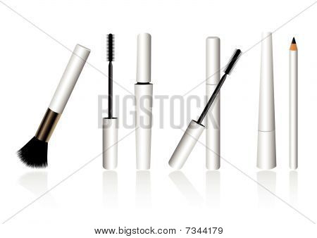 Make-up objects isolated on white background