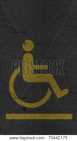 Disabled Person Sign Asphalt Highway Road Texture
