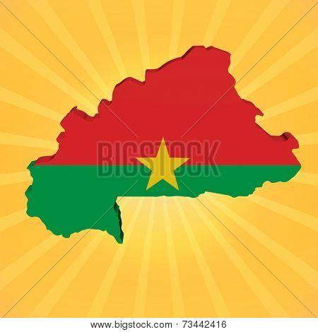Burkina Faso map flag on sunburst illustration