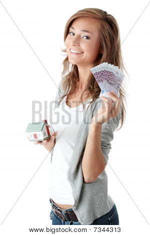Woman Holding Euros Bills And House Model