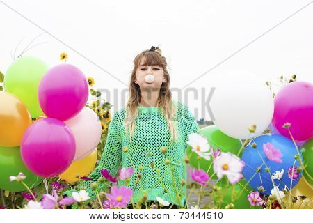Girl With Balloons And Bubblegum
