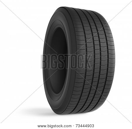 Automobile rubber winter tire isolated on white background.