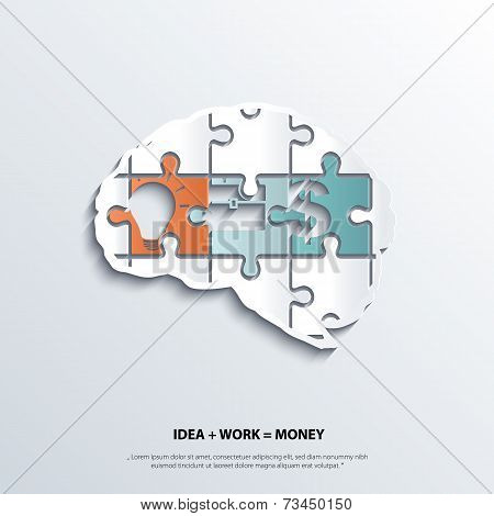 Illustration of piece of jigsaw puzzle showing business equation in human brain.