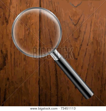 Magnifing Glass With Wooden Background With Gradient Mesh, Vector Illustration