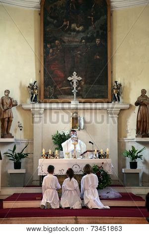 HERCEG NOVI, MONTENEGRO - JUNE, 7: The priest celebrating Mass for pilgrims in the Catholic Church Saint Jerome. Kotor Bay is also known as the Bay of Saints,on June 7, 2012, in Herceg Novi,Montenegro