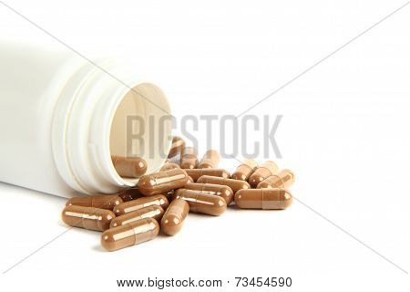 Brown Pills Isolated