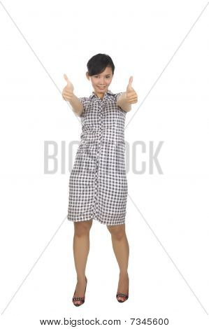 Young Woman With Two Thumbs Up