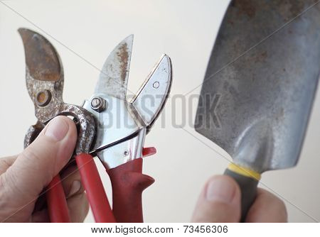 Man with garden tools