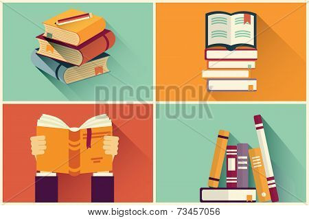 Set Of Books In Flat Design, Vector Illustration