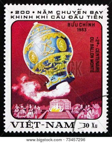 Postage Stamp Vietnam 1983 Hot-air Balloon By Montgolfier
