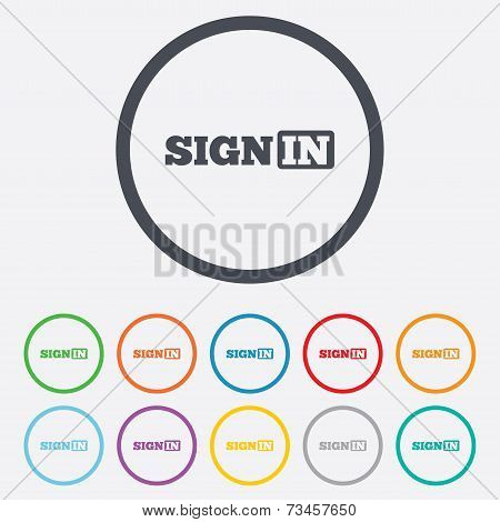 Sign in icon. Join symbol.