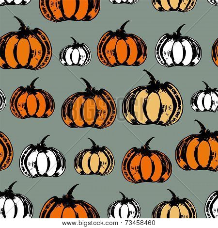 Colorful seamless pattern with pumpkins