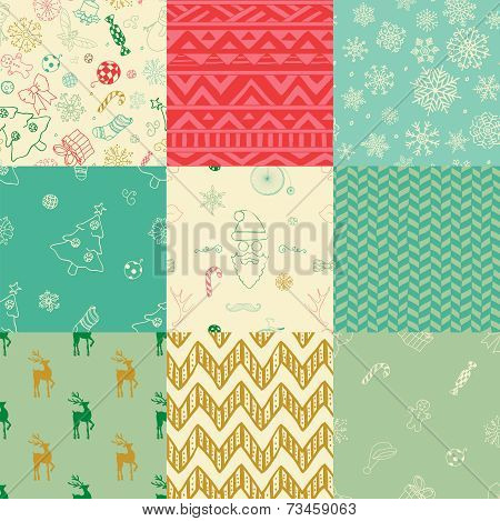 Christmas Doodles Seamless Background Set