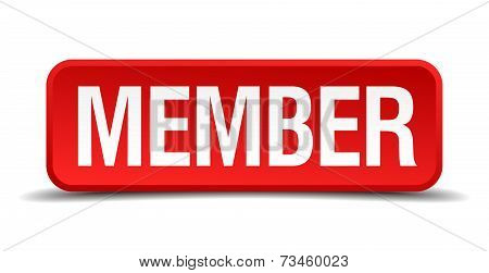 Member Red 3D Square Button Isolated On White
