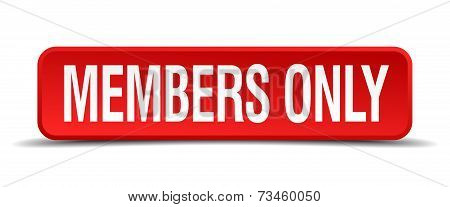 Members Only Red 3D Square Button Isolated On White