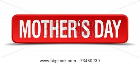 Mothers Day Red 3D Square Button Isolated On White