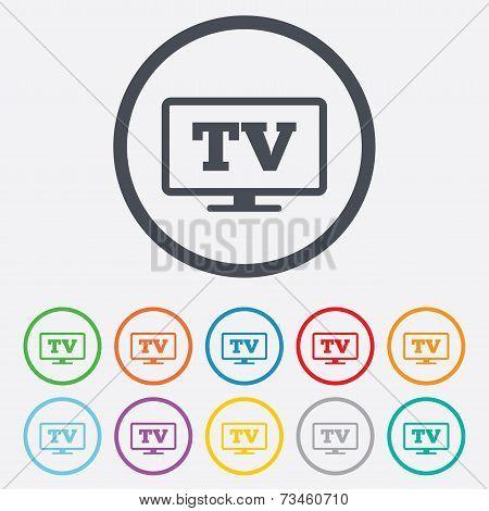 Widescreen TV sign icon. Television set symbol.