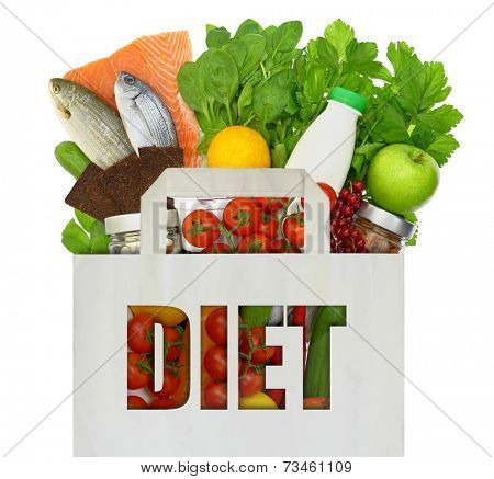 Shopping bag filled with diet foods