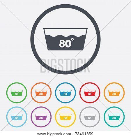 Wash icon. Machine washable at 80 degrees symbol