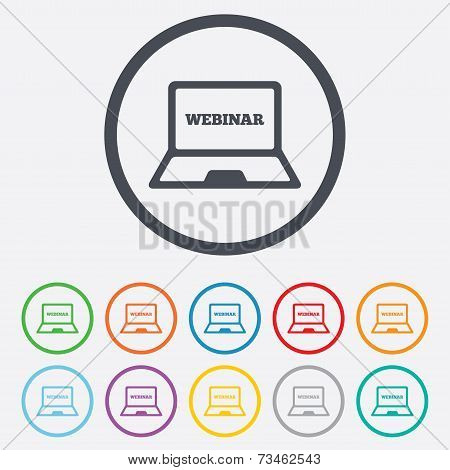Webinar laptop sign icon. Notebook Web study.