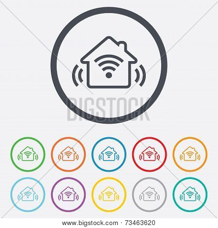 Smart home sign icon. Smart house button.