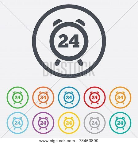 24 hours time sign icon. Clock alarm symbol.