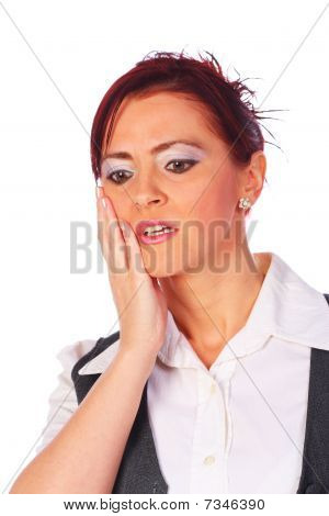 Young Woman Having Toothache, Isolated On White