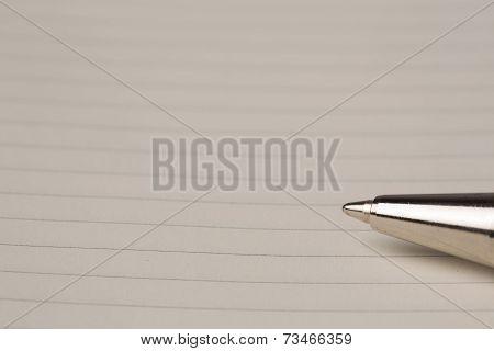 Ballpoint Pen On Blank Lined Paper