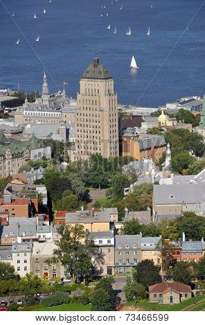 Aerial view of Edifice Price Building and Old Quebec City houses, Quebec City, Quebec, Canada