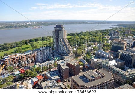 Quebec City and St Lawrence River in summer, Canada