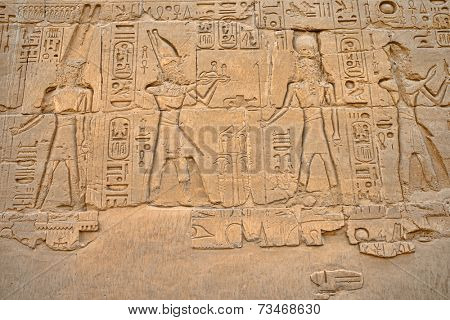 Ancient hieroglyphs on wall, Temple of Karnak,