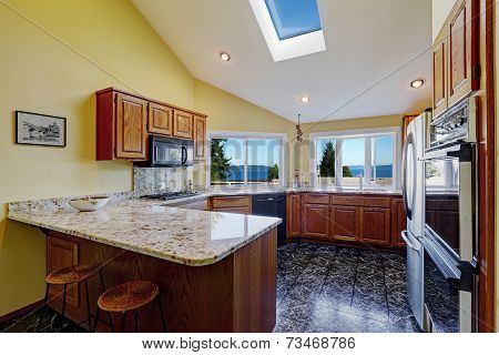 Beautiful Kitchen Room With Skylight Granite Tile Floor