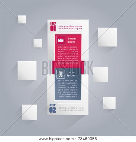 Infographics banner with icons and area for your text - includes two steps or options